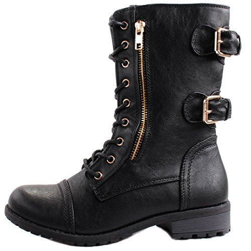 Forever Women's Mango-71 Faux Leather Military Style Ankle Boots Thick Sole Buckles
