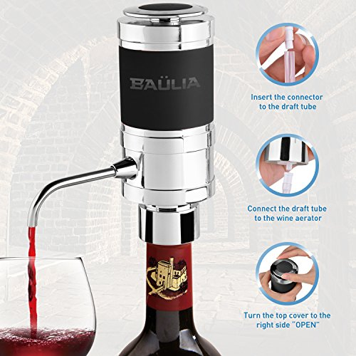Baulia WA819 Electric Aerator – One Touch Operation Instantly Allow Wine to Breath, Pump Dispenser with Vacuum Sealer, Silver by Baulia (Image #6)