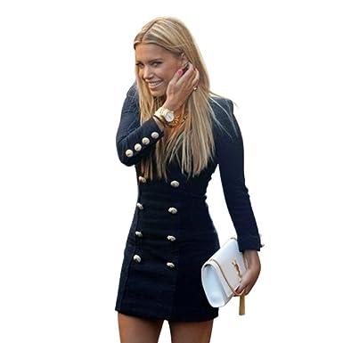 41a67ee266d5 CIELLTE Manteau Mi-Longue Robe Femme Robe Habillée Veste Bouton Blouson  Automne Hiver Mini Dress