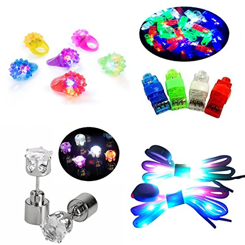 Price comparison product image Jofan 48 Pieces LED Light Up Toys Party Favor Supplies - 40 LED Finger Lights, 6 LED Flashing Bumpy Rings, 1 Pair Nylon LED Shoelaces, 1 Pair LED Earrings