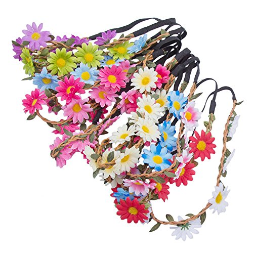 Tea Outfit (Flower Crown Bohemia Headband Accessory - AWAYTR 6PC Sunflower Wreath Women Gilr Headwear Crafting Tea Parties Decoration)