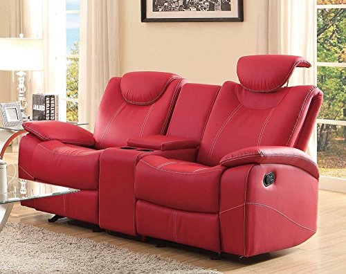 Homelegance Double Glider Reclining Love Seat Faux Leather,