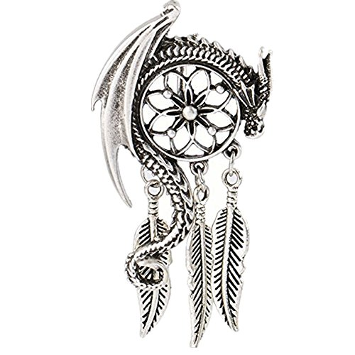 Dragon Dream Guardian Pendant Necklace Bohemian Viking Charm Women Necklace (Mens Dragon)