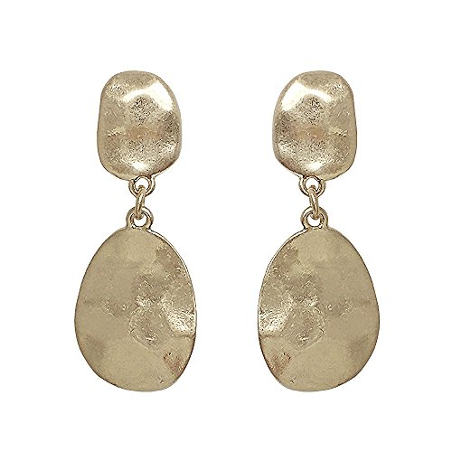 - Seraphina New York Hammered Double Disk Link Post Drop Women's Earrings (Gold)