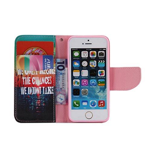 iPhone 5 / 5S Coque , Apple iPhone 5 / 5S Coque Lifetrut® [ Take ] Luxe Premium Portefeuille Flip mignon Coque TPU souple Folio en cuir PU intégré dans la carte Slots Coque Etui pour Apple iPhone 5 /