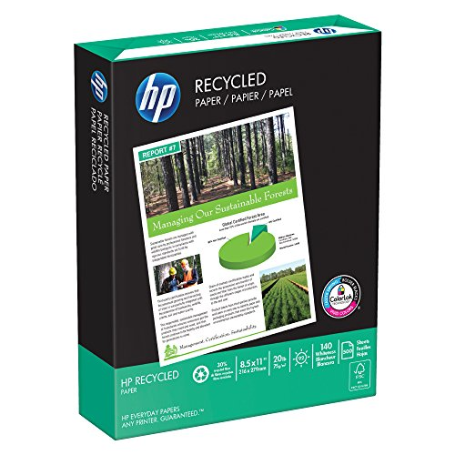 HP Paper, 30% Recycled Copy Paper, 20lb, 8.5 x 11, Letter, 92 Bright, 500 Sheets / 1 Ream,(112100R), Made In The ()