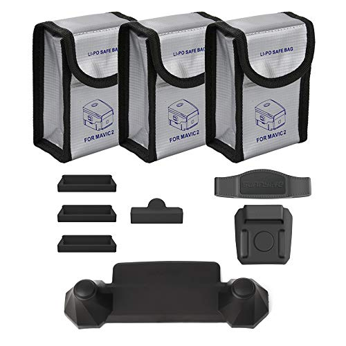 O'woda Mavic 2 Accessories Combo: Lipo Battery Fireproof Bags + Charging Port Silicone Protector + Remote Controller Rocker Protector + Propeller Stabilizer Silicone Fixator for DJI Mavic 2 Pro/Zoom