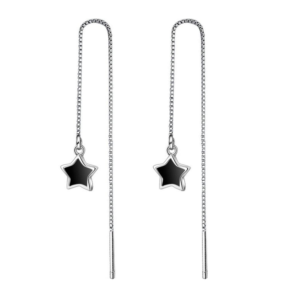 Merssavo Tassel Threader Star Drop Long Chain Earrings Sterlings Silver for womens studs