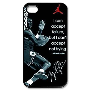Genius NBA Player Michael Jordan Protective Hard Case Cover Skin for Apple iPhone 4/4s- 1 Pack - Black/White - 4