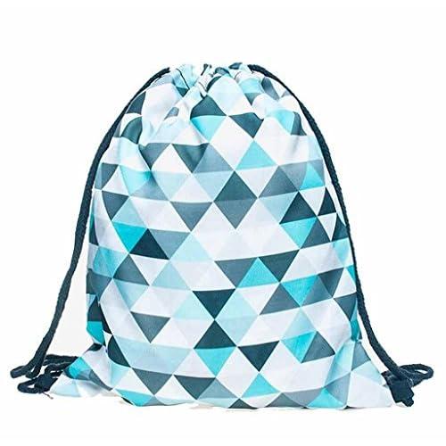 Singleluci Fashion Unisex Emoji 3D Printing Backpacks Geometric Drawstring Bags