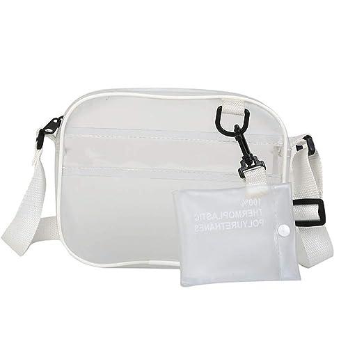 a505c237f2 Clear Crossbody Messenger Bag Shoulder Purse Stadium Approved With  Adjustable Strap Transparent Waterproof Women Girls Travel Bags  Handbags   Amazon.com