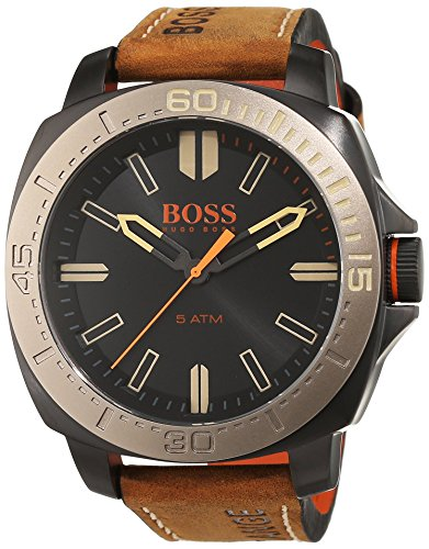 1513314 Watch Hugo boss Men's Orange Stainless steel case, Leather strap, Black dial, Quartz movement, Scratch resistant mineral, Water resistant up to 5 ATM - 50 meters - 165 feet