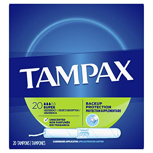Flushable Applicator - Tampax Cardboard Applicator Tampons, Super Absorbency, Unscented, 20 Count - Pack of 4 (80 Total Count) (Packaging May Vary)