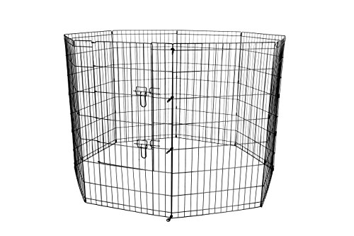 42-Black Tall Dog Playpen Crate Fence Pet Kennel Play Pen Exercise Cage -8 Panel Outdoor Exercise Pet Pen