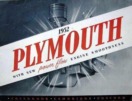 Original Sales Brochure for 1952 Plymouth