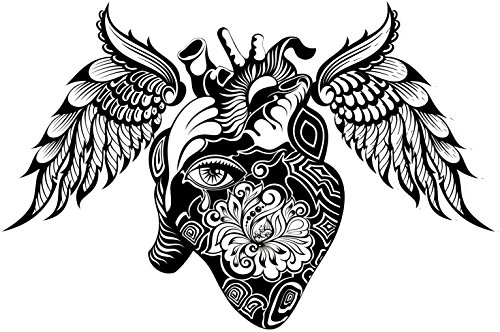 Black and White Henna Tribal Anatomical Heart with Feather Wings Vinyl Decal Sticker (8