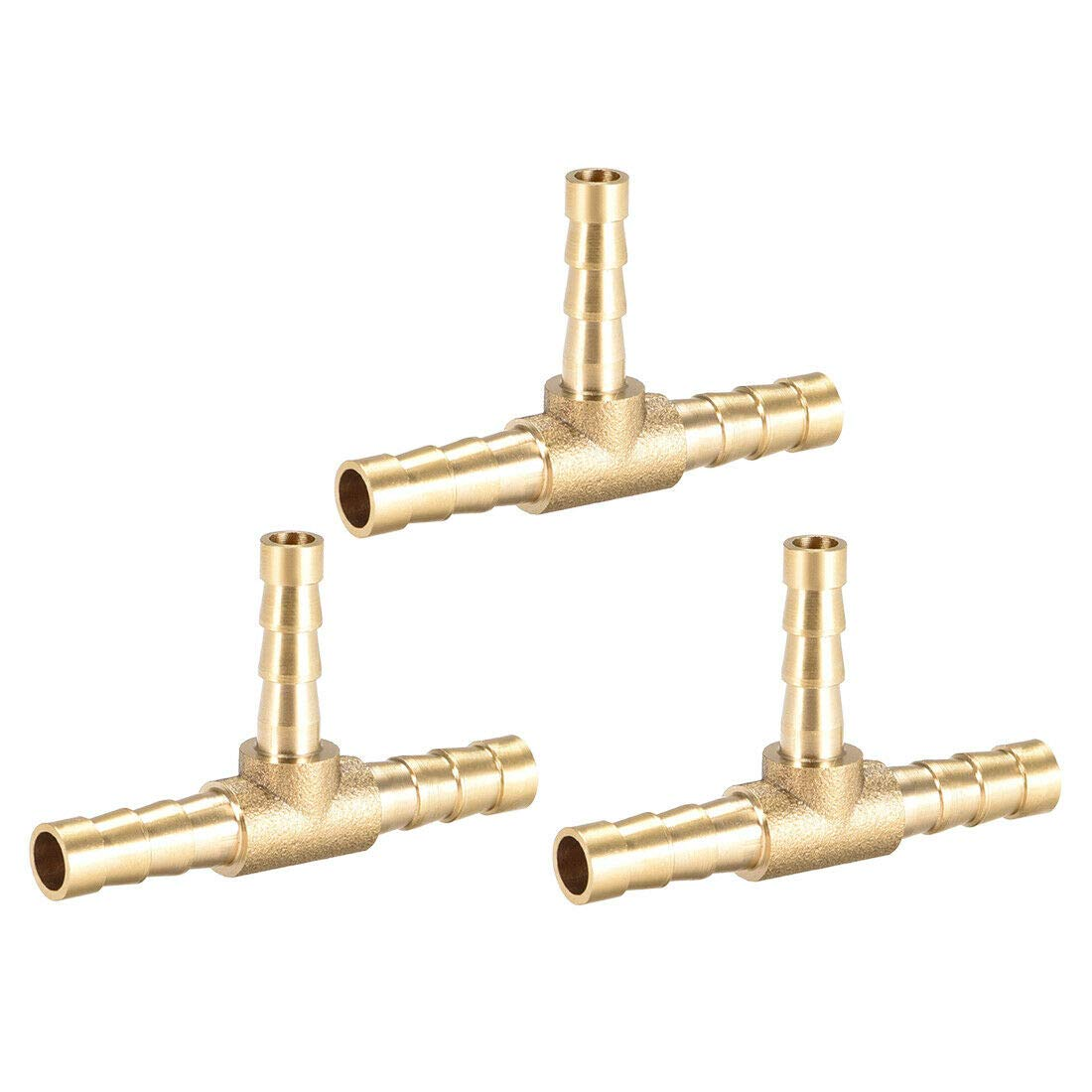 Pipe Fittings 6mm x 5mm x 6mm Brass Hose Reducer Barb Fitting Tee T-Shaped 3 Way Barbed 3pcs