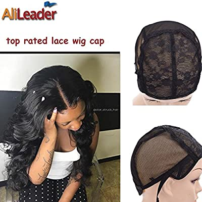 Black Double Lace Wig Caps For Making Wigs Hair Net with Adjustable Straps Swiss Lace from AliLeader