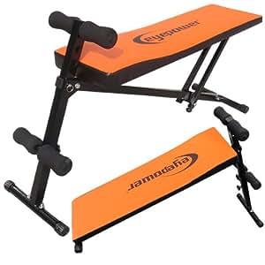 Banco entrenamiento abdominales espalda Banco Sit-Up anaranjado Medidas (largo/ancho/alto): (143x40x73-90 cm)
