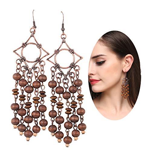 - Long Wooden Tassel Earrings EVBEA Antique Copper Wood Bead Earrings for Women