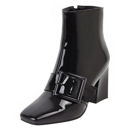 RAZAMAZA Moda Botines de Tacon Ancho con Cremallera para Mujer: Amazon.es: Zapatos y complementos
