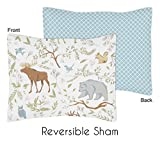 Sweet Jojo Designs Standard Pillow Sham for Woodland Animal Toile Girl or Boy Bedding Sets