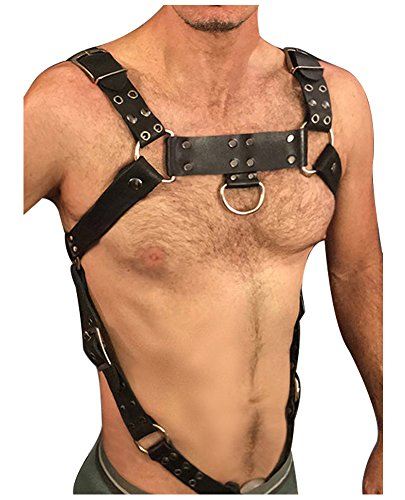 LVOW Men Sexy Black Leather Restrain Body Chest Harness Adjustable Straps Fancy Costumes