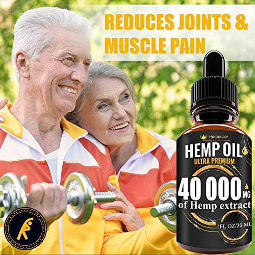 51cax16HLQL - Hemp Oil Drops 40 000 mg, Co2 Extracted, Made in USA, Help Reduce Stress, Anxiety and Pain, 100% Natural Ingredients, Vegan Friendly, GMO Free