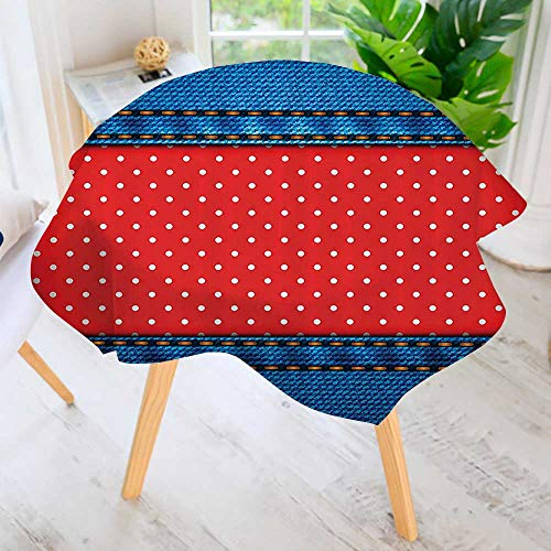 Philiphome Indoor/Outdoor Tablecloth-Jeans Pockets Frame with Little ka Dots Patches Trendy Dated New Available in Many Different Sizes and Colorways 50