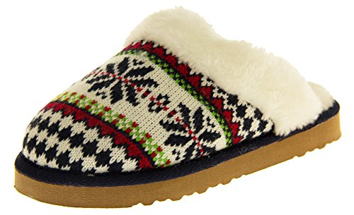 Dunlop Womens Sarah Faux Fur Lined Slipper Mules Navy Fair Isle XcqmsNRUG