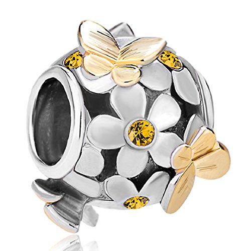 Flying Butterfly Flower Golden 925 Sterling Silver Charm Crystal Bead Fits European Charms (Topaz November Birthstone) ()