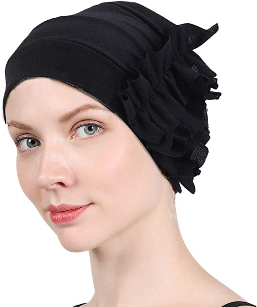 Women Soft Cotton Turban Hat Head Wrap Stretchable Chemo Hair Loss Pleated Cap