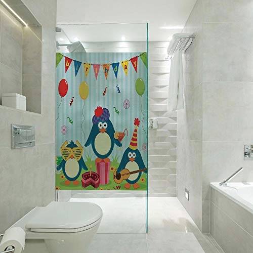 RWNFA Covering Privacy Film Shower Window Cling,Cartoon Penguin Party with Flags Cakes and Box,Customizable Size,Suitable for Bathroom,Door,Glass etc,Light Blue and Fern Green