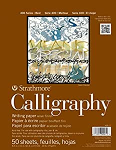 "Strathmore 405-11 400 Series Calligraphy Pad, 8.5""x11"" Tape Bound, 50 Sheets"