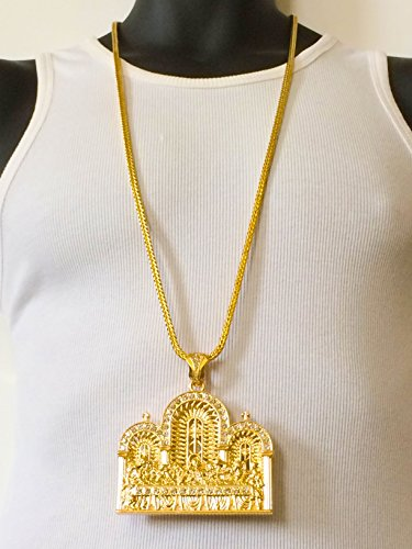Mens+Iced+Out+Hip+Hop+Gold+the+Last+Supper+Pendant+4mm+36%22+Franco+Chain+Necklace
