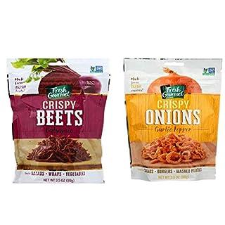 Fresh Gourmet Crispy Beets Balsamic and Fresh Gourmet Crispy Onions Garlic Pepper Bundle