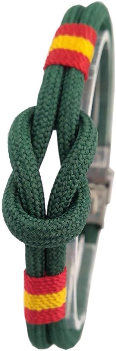 Pulsera nudo náutico Verde Guardia Civil. Bandera de España. Cierre de acero. Medida: 20-21 cm.