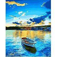 LXHLAN Fai da Te Immagini digitali Pittura a Olio Paesaggi di Lago Paesaggio Marino dai Numeri Colorare per Numero su Tela Regali Unici Decorazione Domestica 40x50cm Senza Cornice