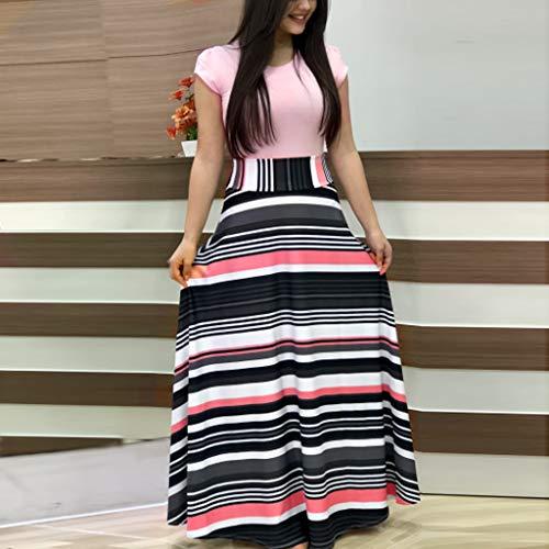 Kiasebu Women Elegant Summer O Neck Floral Printed Sundress Casual Swing Dress Maxi Dress for Women (B-Pink#, Medium)