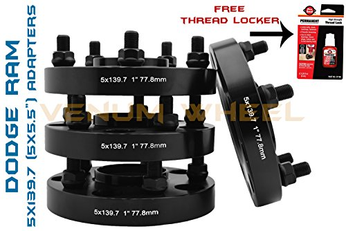 "4 Pc 1"" Inch Thick Black Dodge Hub Centric Wheel Spacer 77.8mm Hub Bore 9/16 Thread Size + Thread Locker Fits: Dodge Ram (2002-2011) Durango (2004-2009) Dakota (2005-2011)"