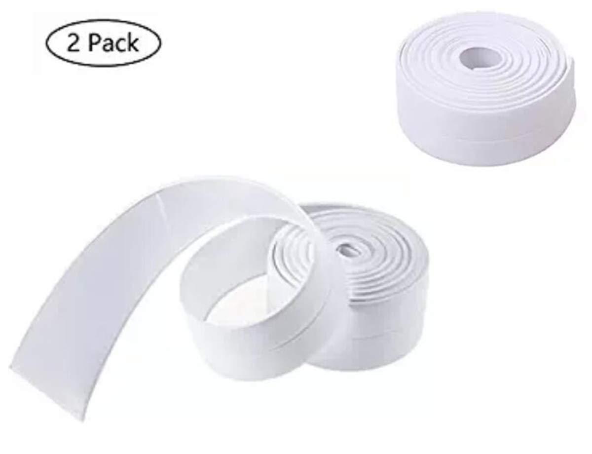 Corner line Tape Strip Waterproof Mildew Edge Protector caulking for Bathroom Shower tub Toilet Window Kitchen Sink Sealing and tap Strip 126'x1.5' White(2 Pack)