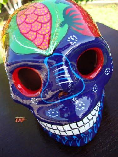 Cute model skull  handmade blue model skull day of the dead skull.