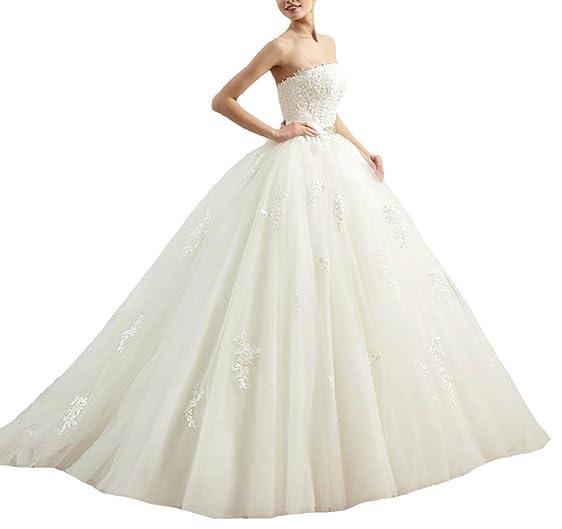 Firose Women\'s Lace Strapless A-line Puffy Wedding Dresses Bridal ...