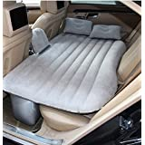CDGroup Full Set Premium Waterproof Flocked Car Air Bed with Electric Pump and Pillows, Multilayer Car Inflatable Mattress for SUV, Inflatable Air Bed for Camping, Travel, Rest (Grey)