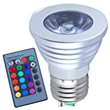 Jambo Dimmable LED RGB E27 3W 16 Colors Changing Spotlight Bulb...