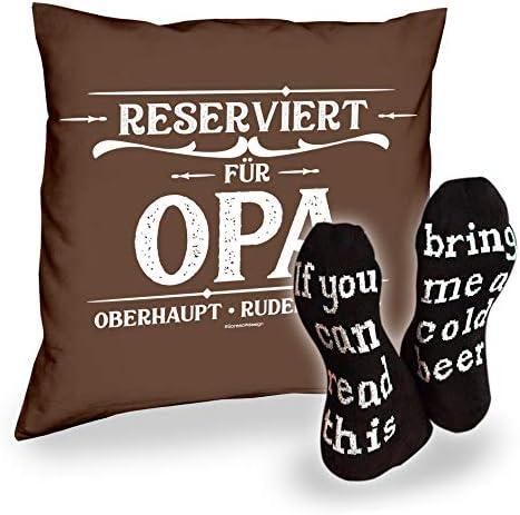 Socken mit Spruch If you can read this - bring me a cold beer Herren und Kissen Reserviert für Opa
