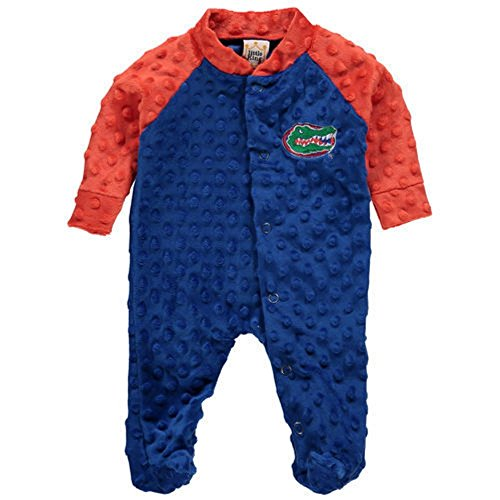 Florida Gators Little King Newborn Cuddle Bubble Raglan Footed Sleeper Pajamas (Blue, 0-3 Months) (Sleeper Footed Embroidered)