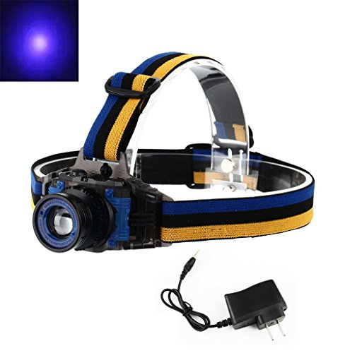 Welltop® Zoomable UV Ultraviolet Led Purple Light 3 Modes Ultraviolet LED Zoom Headlamp for Money Detector, Leak detector and Cat Dog Pet Urine Detector headlamps