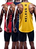 Neleus Men's 3 Pack Dry Fit Athletic Muscle Tank Shirt,5031,Red,Yellow,Navy,S,EU M