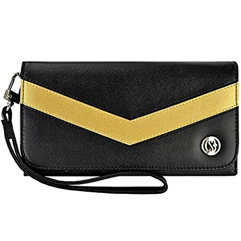 Smart Phone Wristlet, caseen ViVi Wallet Clutch Purse Case (Black/Gold Glitter Bronze) for Apple iPhone 7 / 6S / 6 Plus, Samsung Galaxy S6 / S6 Edge / S6 Edge+ / Note 5 / Note 4 / 3 / 2 / II, Google Nexus 6P 6, HTC One M9 / M8, Sony Xperia Z3 / Z3v, LG G5 G4 G3, Moto Droid Turbo [Up to 6.25 x 3.5 Inch Smartphone] - Large (M8 Cell Phone Case Wallet)